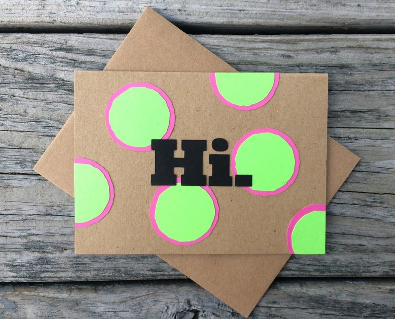 Hi Sending a Hello Miss You Preppy Card Just a Hello Want to say Hi Bright Pink /& Green Polka Dot Greeting Card with matching envelope