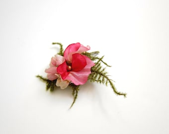 Hot pink flower clip, Hair accessory, Wedding bridesmaid hair adornment
