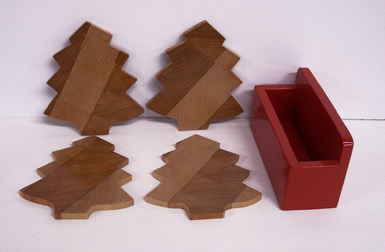Christmas Tree Coaster Set  With Red Holder End Grain image 0