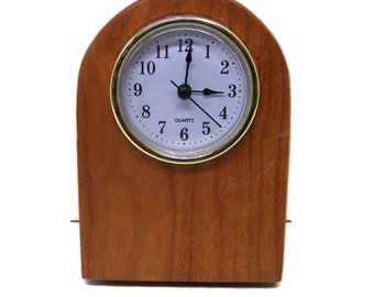 Desk Clock, Personal Clock, Work station Clock Handcrafted in Cherry Hardwood With a Quartz Movement.