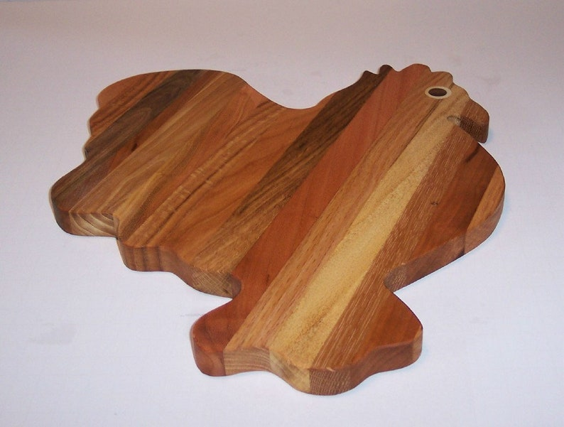 Rooster Cutting Board For The Country Kitchen Handcrafted from Mixed Hardwoods FREE SHIPPING