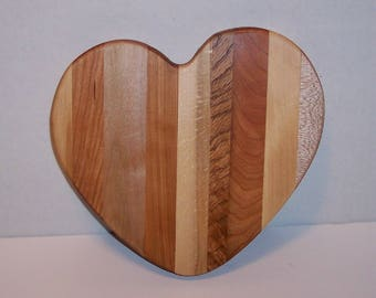 Heart Cutting Board Handcrafted from Mixed Hardwoods