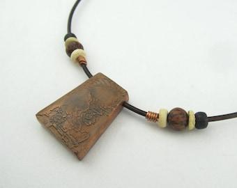 Reversible Copper Box Bead Necklace