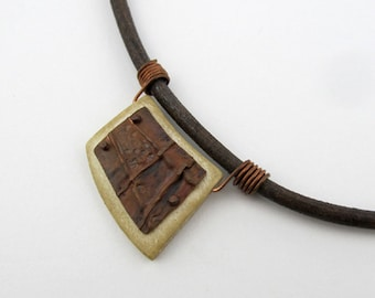 Foldformed Copper and Bone Necklace with Wire Wrapped Bail