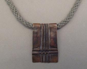 Copper Foldformed Pendant on Kumihimo