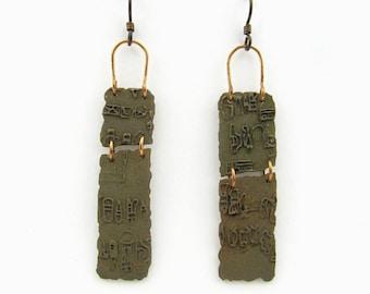 Bronze Earrings with Olmec Script