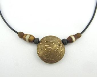 Reversible Bronze Lentil Bead Necklace