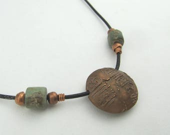 Reversible Copper Lentil Bead Necklace with Tibetan Turquoise Beads