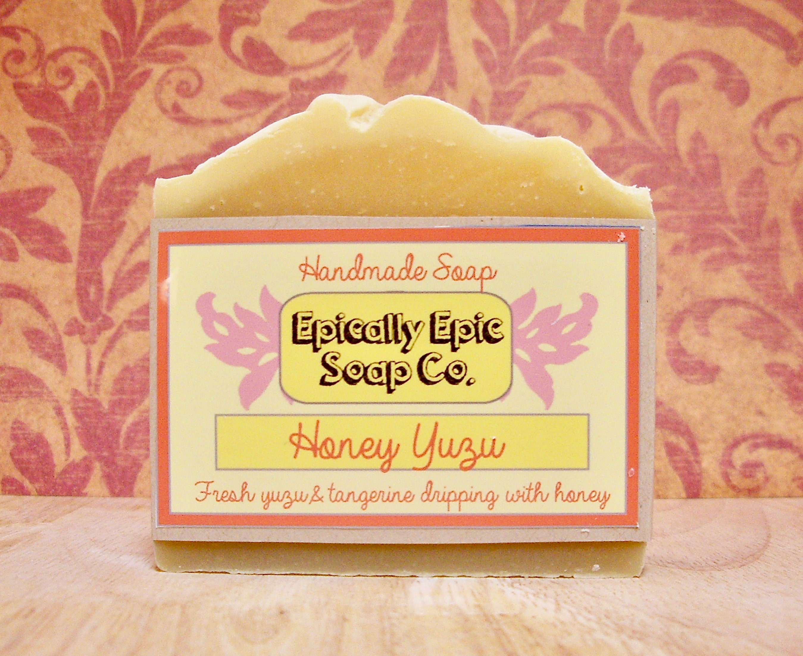 Honey,Yuzu,Cold,Process,Soap,-,Vegan,Handmade,Bath_And_Beauty,soap,cold_process_soap,handmade_soap,epically_epic_soap,bar_soap,natural_soap,homemade_soap,glycerin_soap,into_the_summer,honey_soap,vegan_honey,yuzu_tangerine,grapefruit_soap,olive oil,organic palm kernel oil,castor oil,sodium hydrox