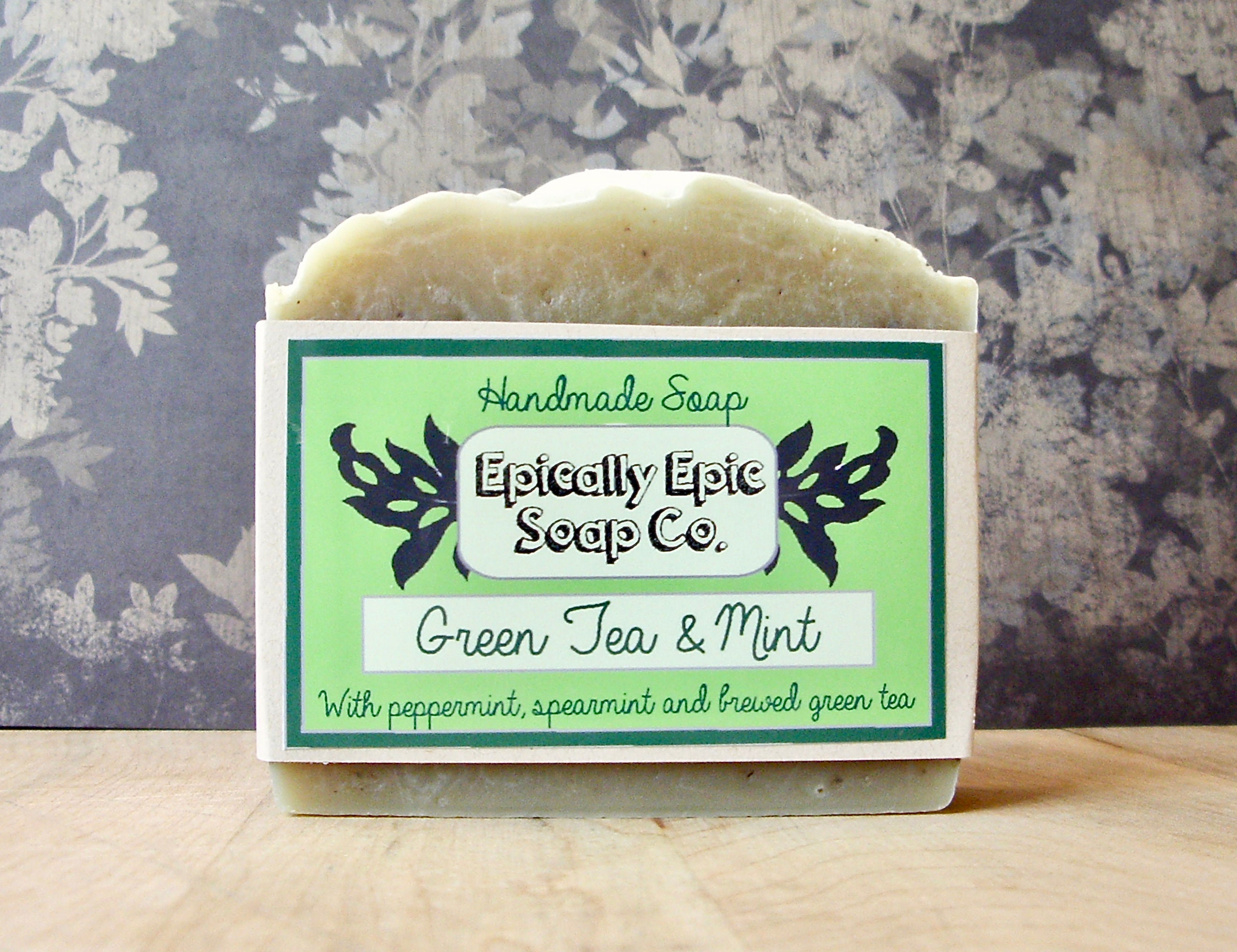 Green,Tea,and,Mint,Cold,Process,Soap,-,Vegan,Handmade,Bath_And_Beauty,soap,cold_process_soap,handmade_soap,epically_epic_soap,bar_soap,natural_soap,homemade_soap,spring_collection,mint_soap,green_tea_soap,spearmint_soap,peppermint_soap,glycerin_soap,olive oil,organic palm kernel oil,castor oil,sodium hy