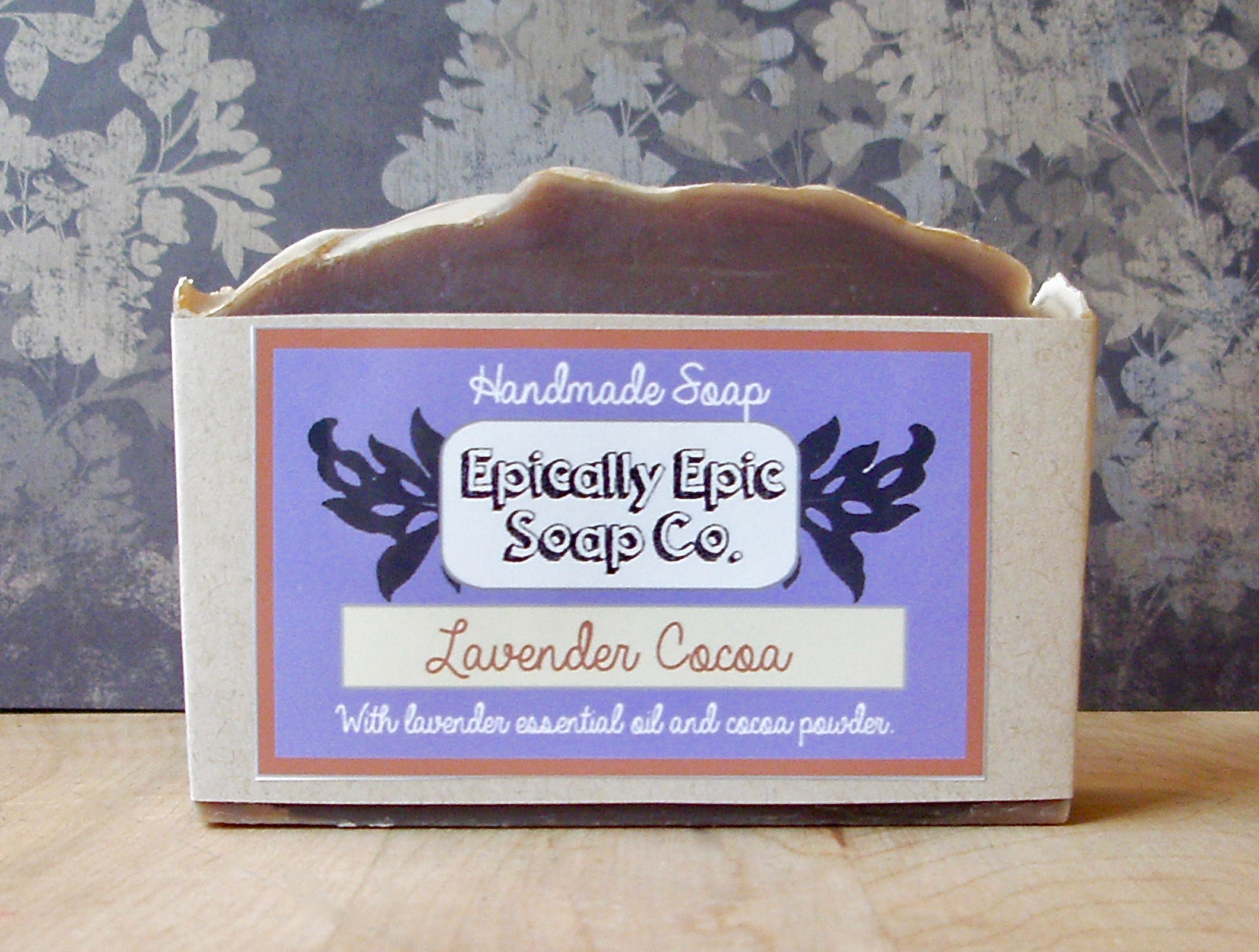 Lavender,Cocoa,Cold,Process,Soap,-,Vegan,Handmade,Bath_And_Beauty,soap,cold_process_soap,handmade_soap,epically_epic_soap,bar_soap,natural_soap,homemade_soap,spring_collection,mint_soap,green_tea_soap,spearmint_soap,peppermint_soap,glycerin_soap,olive oil,organic palm kernel oil,castor oil,sodium hy