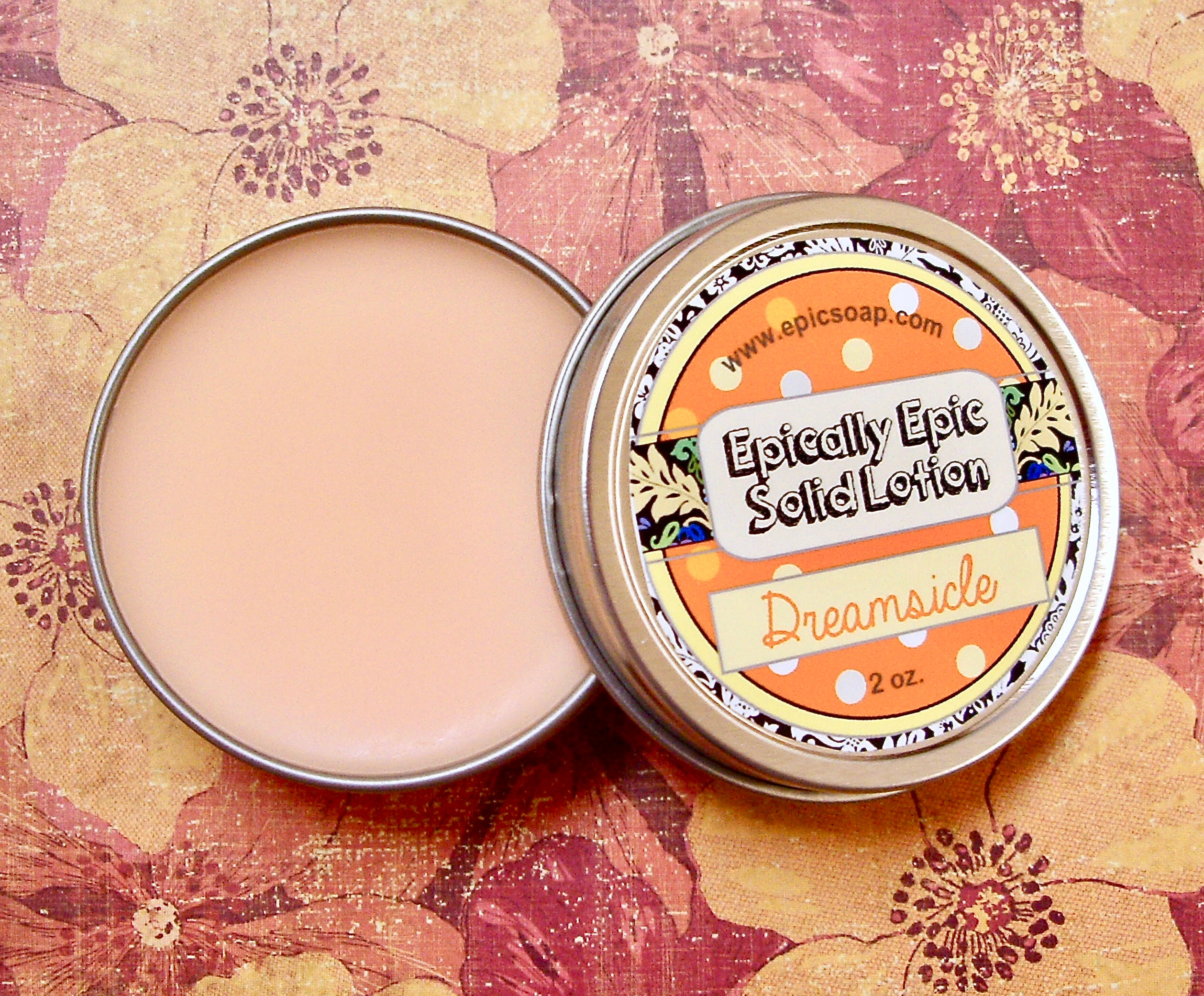 Dreamsicle,Many,Purpose,Solid,Lotion,-,Limited,Edition,Into,the,Summer,Scent,Orange,&,Vanilla,Cream,Bath_And_Beauty,hand_cream,body_butter,lotion_bar,epically_epic,solid_lotion,vegan_lotion,cuticle_butter,scented_lotion,into_the_summer,creamsicle,orangesicle,orange_vanilla,orange_marshmallow,macadamia butter,jojoba,candelilla wax,coconut oil,olive squal