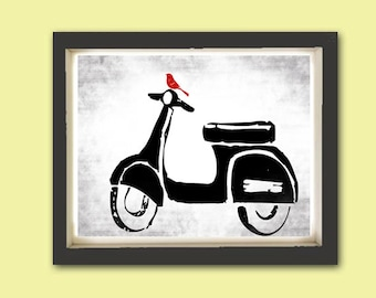Vespa Print - Fine art print, Modern decor scooter, bike print, Vespa art