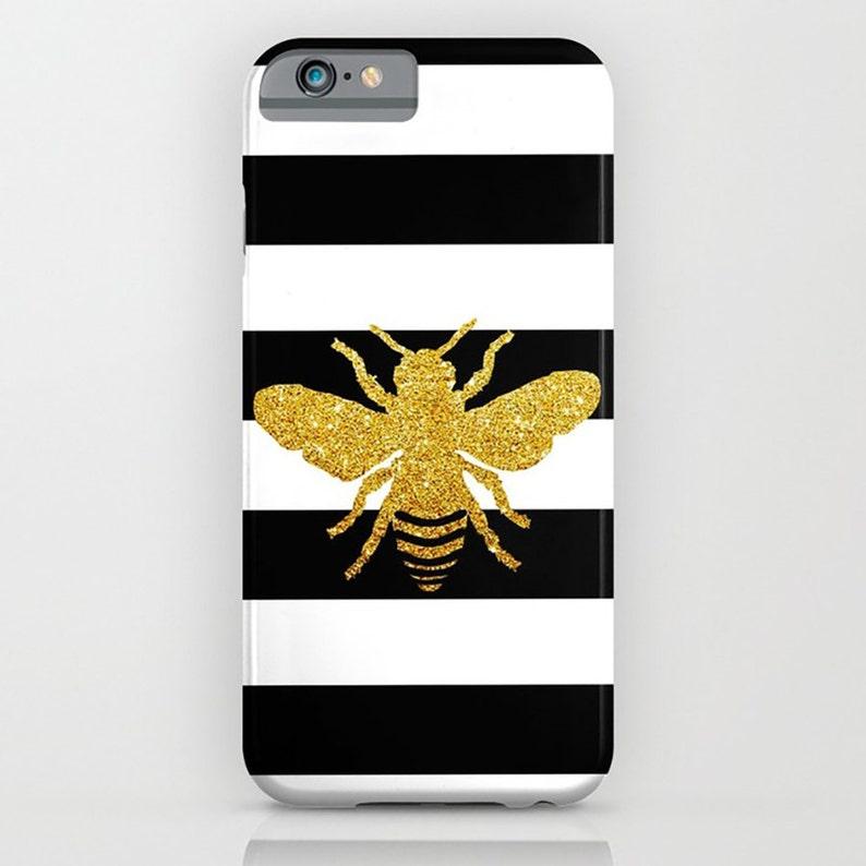 gold glitter effect honeybee iPhone 6 Plus iPhone 6S iPhone 8 spring Honeybee on golden print phone case
