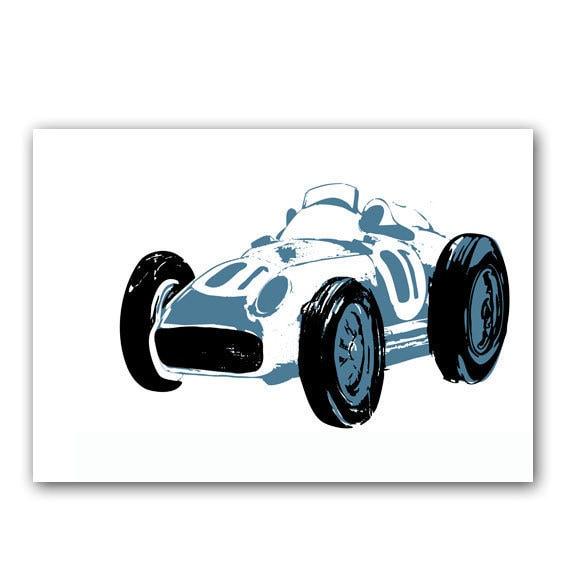 El azul de carreras de coches láminas de niños, dormitorio decoración ideas, coches, transporte, silueta, decoración cuarto de niños, dormitorio de