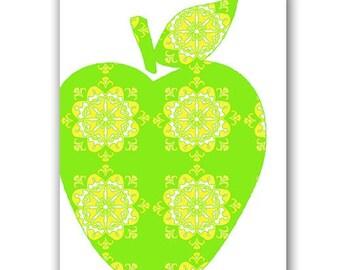Green Damask Apple - fine art print, damask apple, nursery art, kitchen art