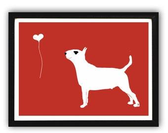 English Bull Terrier Dog  - Fine art print, dog art prints, Dog lover, decor, black and white colour, pet , bull terrier