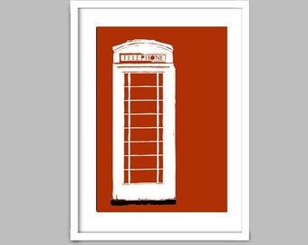An English telephone booth - Fine Art Print, Modern decor Red color gift London, England silhouette