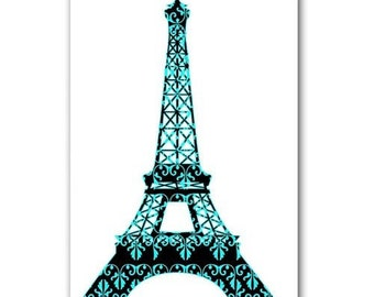 Floral Damask Eiffel Tower fine art print Modern decor blue black wedding gift symbol of love