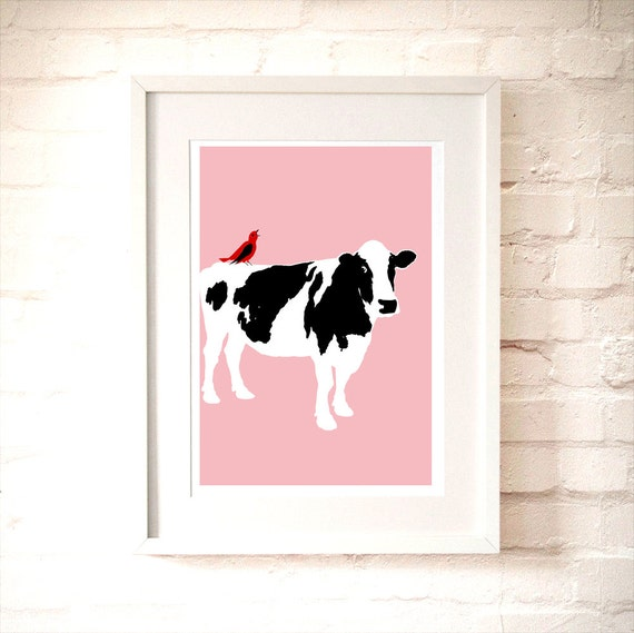 Cow On Pink Kids Art Prints Nursery Red Bird Etsy