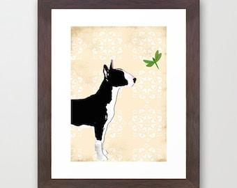 English Bull Terrier Dog in Black - Fine art print, dog art prints, Dog lover, decor, black and white colour, pet , bull terrier