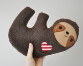 Furry Cuddly Sloth - Striped Heart - READY TO SHIP