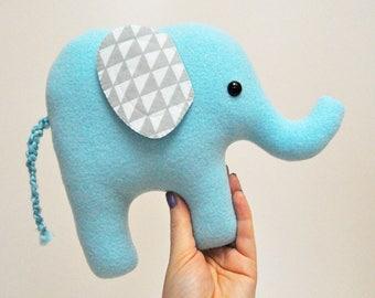 Curious Light Blue Plush Elephant - Gray Geometric Triangle Print Ears - READY TO SHIP