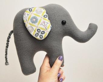 Curious Gray Plush Elephant - Floral Print Ears - READY TO SHIP