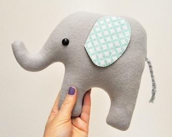 Curious Light Gray Plush Elephant - Light Blue Geometric Print Ears - READY TO SHIP