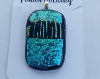 Green Dichroic Glass Pendant with a rose gold stripe.  Sterling Silver Bail
