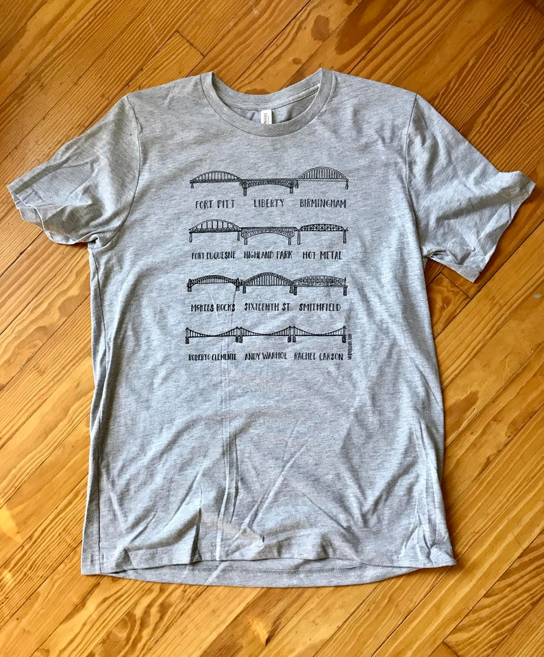 City of Bridges Pittsburgh Tee in Grey  free shipping image 0