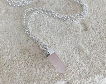 Petite Rose Quartz Necklace Sterling Silver