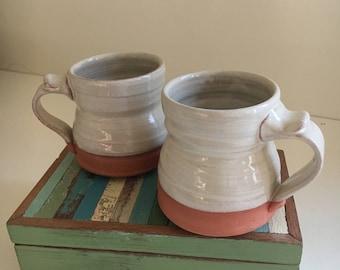 Pair of Mugs in Folk Art White