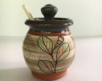Honey Pot with Leaf Pattern