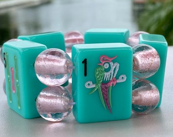 Aqua Mah Jong Bracelet with Jumbo Pink Glass Beads