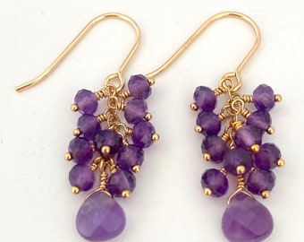 Amethyst Gem Cluster Earrings with Gold