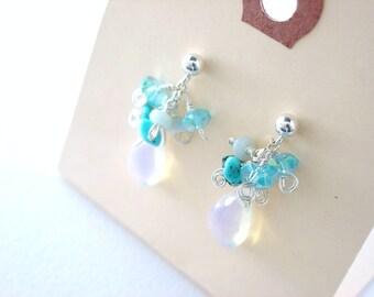 Blue Chalcedony Earrings, Sterling Silver Post