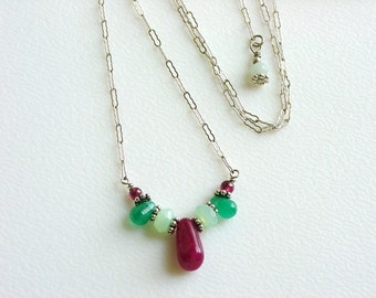 Ruby Zoisite, Chalcedony, Aventurine, Garnet& Sterling Silver Handmade Necklace