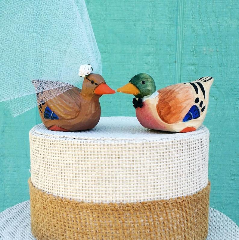 0a991a17a7af8 Mallard Wedding Cake Topper Wood Duck Bride Groom Mr Mrs | Etsy