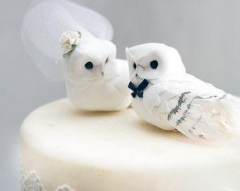 Snow Owl Wedding Cake Topper Hedwig Harry Potter in Winter White Bride & Groom Love Bird Snow Love Bird Mr Mrs Anniversary Rehearsal Dinner