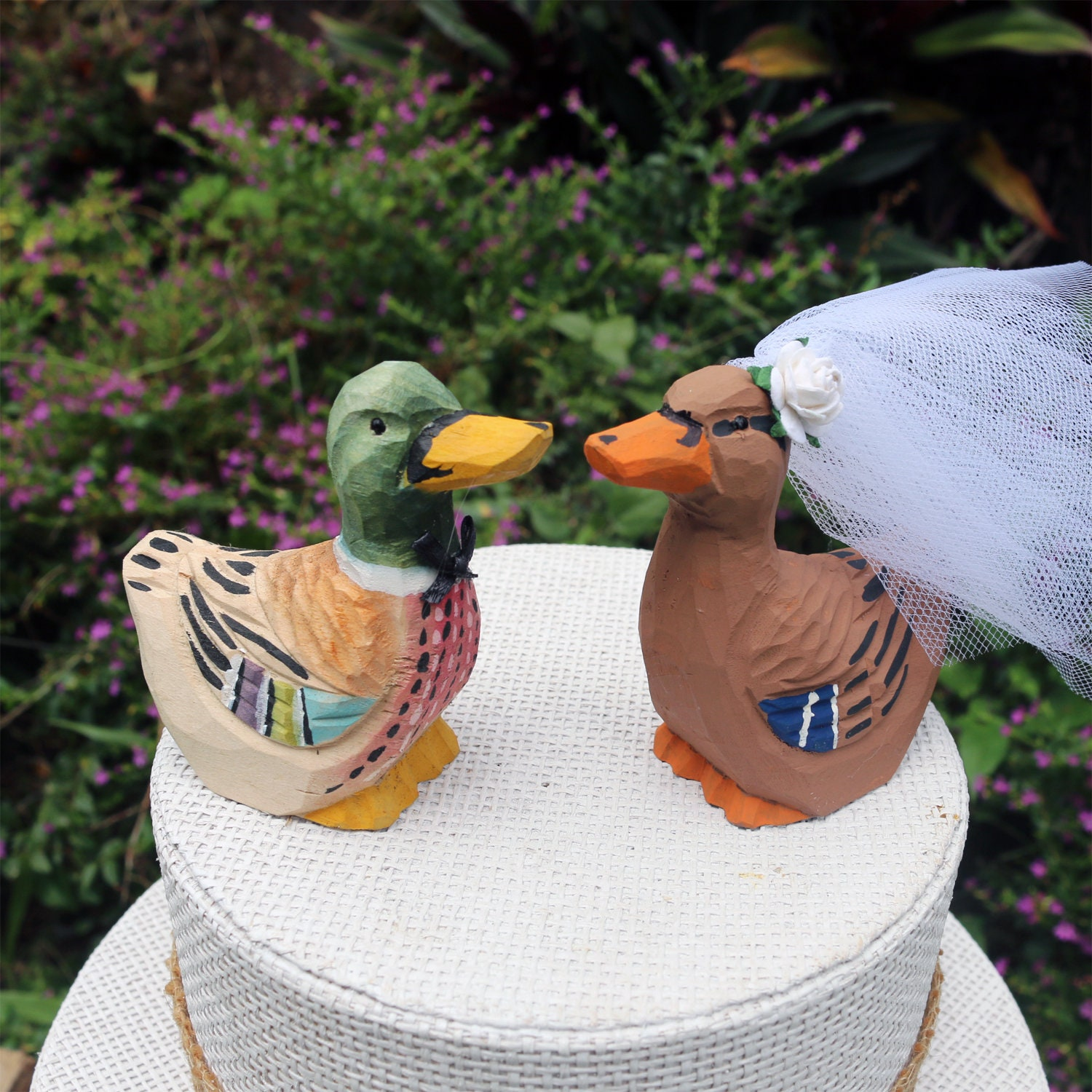 Duck Wedding Cake Topper: Handcarved hand painted Wooden ...