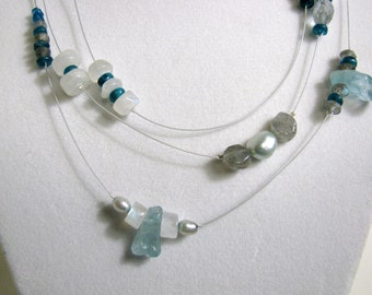Glowing Gemstones Floating Necklace and Earrings RKMixables Silver Collection