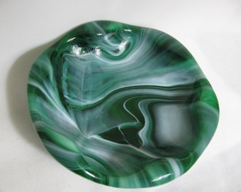 Mid Century Modern Green and White Swirled Glass Vessel or Bowl - Ashtray?