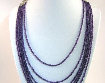 Multi Strand Amethyst Adjustable Sterling Silver Necklace RKS598 RKMixables Silver Collection