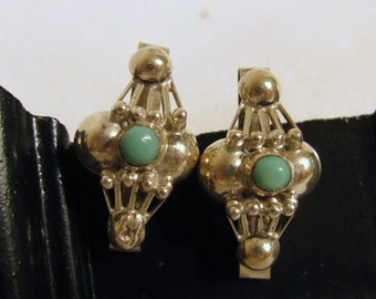 Vintage Mexican Earrings, Iguala, signed by FSS, 925 Sterling Silver and Turquoise
