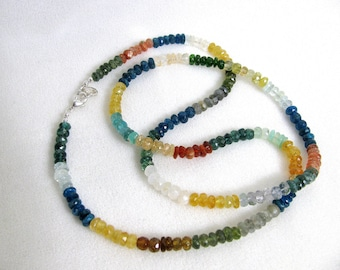 Mixed Gemstone Beaded Necklace RKS178 RKMixables Silver Collection