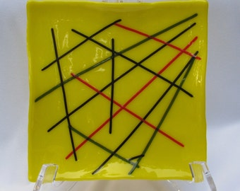 Slumped Glass Dish or Plate, Yellow with Stringers, RKP23