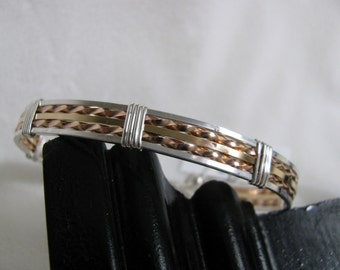 Sterling Silver, 14K Yellow GF and Rose GF Wire Bracelet RKS389
