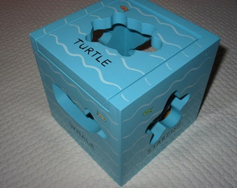 Sea Life wooden shape sorter cube toy or beach house decor