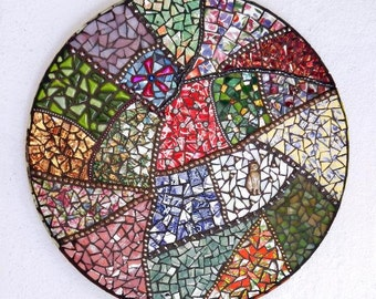 Gramma's Quilt, Crazy Quilt Mosaic, Glass,  China, Red, Green, Blue, Silver, Gold